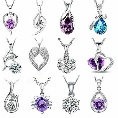 100 silver plated crystal necklace with crystal pendant massive clearance joblot