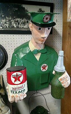 Vintage texaco paper mache oil gas figure sign can bottle wall hang