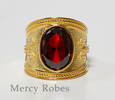 Sterling Silver, SUBS166 S-R New Men/'s Clergy Apostle Ring Red