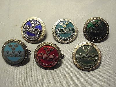 Collection of   Swedishswim award stick pin badges Swimming Sweden year marks