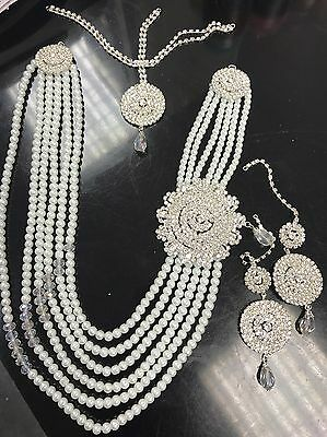 New Indian Costume Jewellery Necklace Earrings Set Pearl Design Wedding Wear