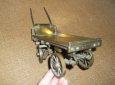 Rare Antique Ww1 Trench Art Brass & Copper Model Drayman's Cart Finest Detailing