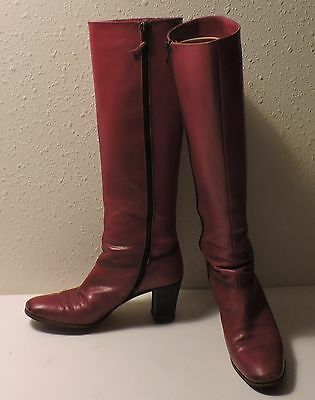 Vintage Salvatore Ferragamo High Heel Red Leather Tall Boots-Size 6, Narrow