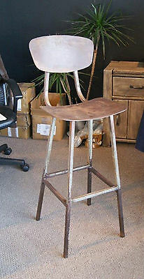 Vintage Industrial Bar Stool Chair Antiqued Rusted Iron
