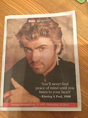 The Sun 8 Page Newspaper  Tribute George Michael 1963-2016