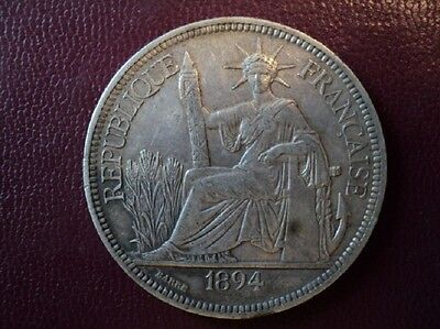 1894 A French Indo-Chine / Indo-China Silver One Piastre