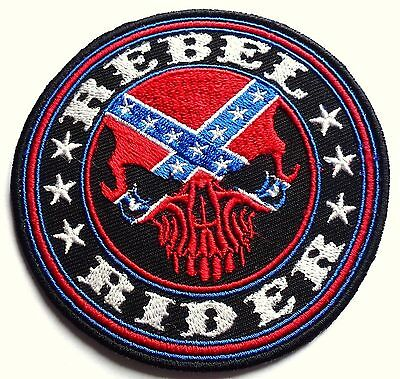 REBEL RIDER CONFEDERATE -  SEW OR IRON ON BIKER MOTORCYCLE PATCH 90mm x 90mm