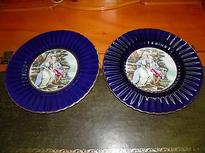 A Pair of Royal Victoria Wade Pottery Vintage Dark Blue Plate and Signed
