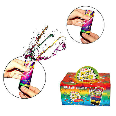Spring Loaded Hand Held Confetti Party Poppers Colorful Party Poppers Set of 12