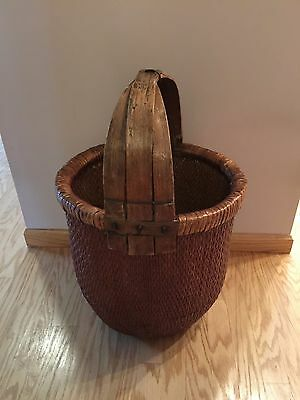 Large Antique Chinese Woven Rice Splint Basket w/Wax Seal - Very Rare