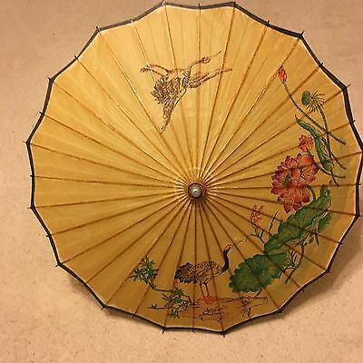 Vintage retro mid century Chinese hand painted paper bamboo parasol crane water