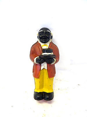 """Black Americana Cast Iron Uncle Moses Still Bank Stands 8"""" Tall"""