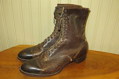 Vintage 1900s Roberts Johnson Rand Victorian Leather Mens Dress Work Boots, 7/8