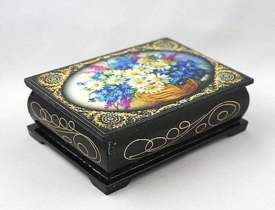 """Flowers Bouquet"" Wood Lacquer box Palekh Russian style Decoupage"