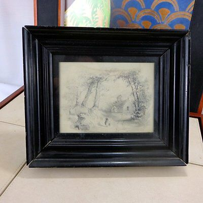 Antique Original Pencil Drawing Sketch Picture Victorian 19th C Framed Woodland