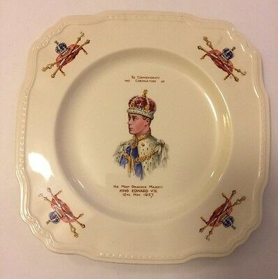"1937 Coronation  Crowned King Edward VIII 9"" Alfred Meakin China Plate"