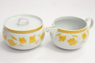 Pair of Hearthstone Block Vista Alegre Ginger Yellow Sugar Bowl & Creamer Retire