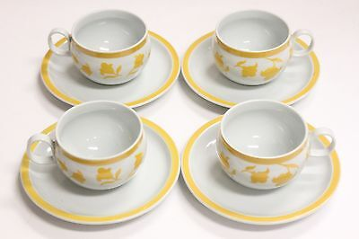 Set of 4 Hearthstone Block Vista Alegre Ginger Yellow Cups & Saucers PORTUGAL