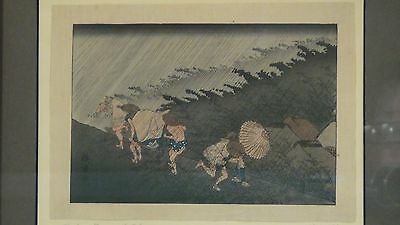 """Antique """"Rain Storm At Shono""""Woodblock Print By Hiroshige From 53 Station Series"""