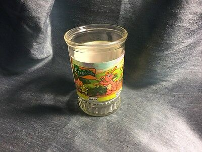 """DRAGON TALES 4"""" PLAYING DRAGONBALL Jelly Jar Glass Juice Cup WELCH'S #5"""