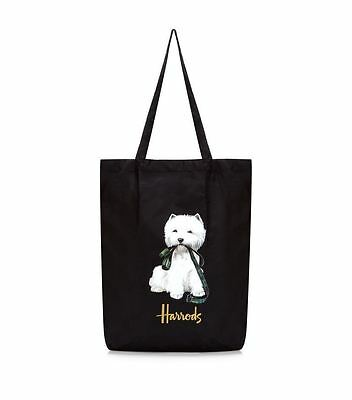 HARRODS Pocket Shopper Foldaway Tote Bag WESTIE LOGO New