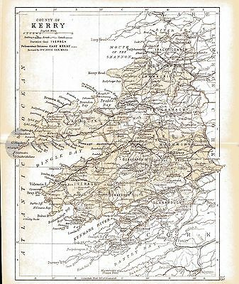 Three antique maps of County Kerry & Ireland & a Munster fact sheet.