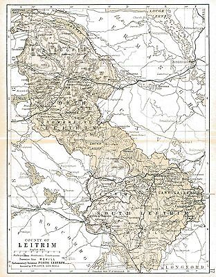 Three antique maps of County Leitrim and Ireland and a Connaught fact sheet.