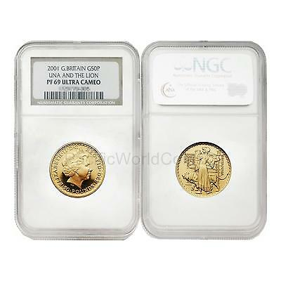 Una and the Lion 50 Pounds 1//2 oz Gold NGC MS64 Great Britain Britannia 2001