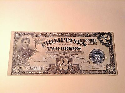 """2 Two PESOS PHILIPPINES """" Victory """" Series No. 66 Banknote"""