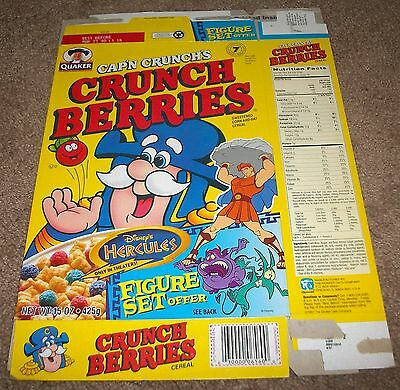 1999 Quaker Cap'n Crunch's Crunch Berries Cereal Box Flat Disney Hercules Offer