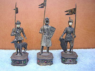 3 Rare Antique German Jeweled Sterling Silver Knight Statues Figures Figurines