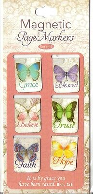 6 SMALL MAGNETIC BOOKMARKS - Butterfly Blessings