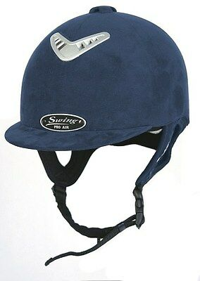 Horse Riding Hard Hat Helmet Swing Pro AIR Navy Blue Suede Size 52, 6 3/8, SALE!