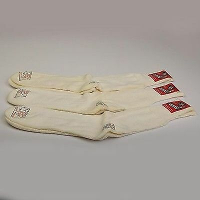 Large Vintage 1950s 50s Deadstock Socks Athletic White Cushion 3 Pair Workwear