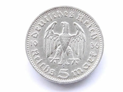 NICE GERMAN Coin 5 MARK REICHSMARK 1936 A EAGLE HINDENBURG Silver 3RD Nazi WWII