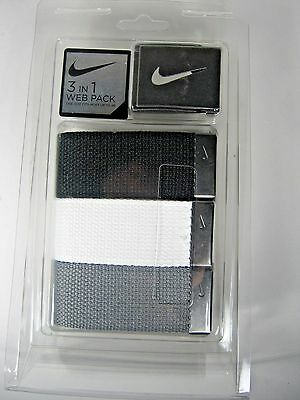 Nike Golf Men's 3-in-1 Web Belts Personalized Fit Technology BLK/Wht/G Up to 42