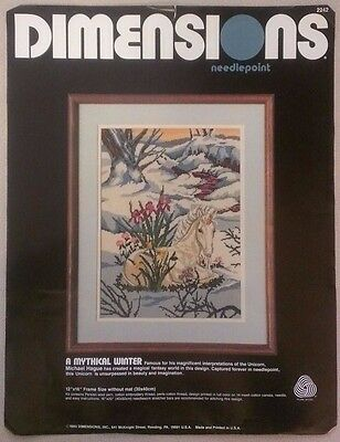 """NOS Dimensions A Mythical Winter Needlepoint 2242 Unicorn 12"""" x 16"""" Persian Wool"""