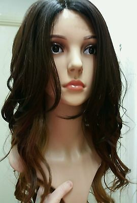 Brown, Blonde, 100% Human Hair Blend Wig, Dark Brown, Long, red, lace front