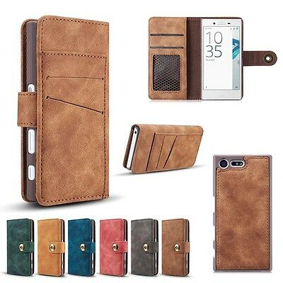 Retro Magnetic Leather Detachable 2in1 Wallet Flip Phone Case Cover