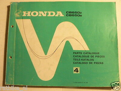 Honda Cb650 Z And B Parts Catalogue No 4 1980 Motorcycle