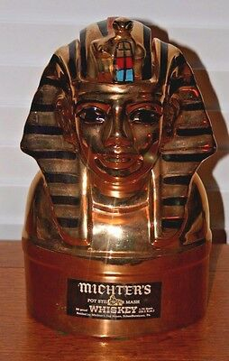 """Michter's Whiskey Figural EGYPTIAN KING TUT Decanter, Empty, 7"""" x 11 1/2"""""""