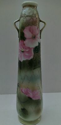"""Antique Hand Painted Nippon 12"""" Vase with raised, beaded gold gilt and mark."""