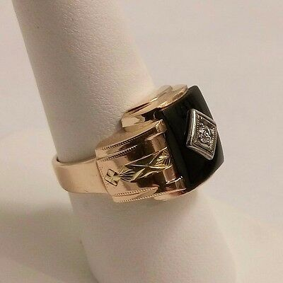 Art Deco Solid Gold Diamond Onyx Signet Ring. Size 7.5.