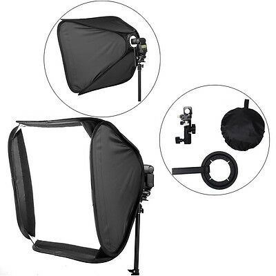 "24"" Photography Softbox Soft Box w/ Bracket for Flash Speedlights w/ Hot Shoe US"