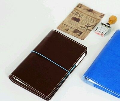 A6 Size Personal Planner 6 Ring Agenda Brown Soft Faux Leather