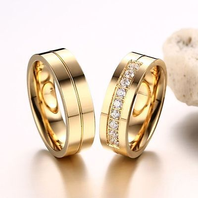 Love Couples Wedding Band Ring 18K Gold Plated Stainless Steel Cubic Zirconia