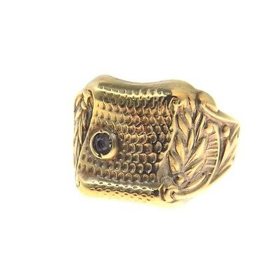 Vintage Carved Brass Paste Rhinestone Gold Tone Ring Art Deco Signet Men's Gents