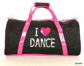 Girls Dance Bag I Heart Love Dance Girls Carry All Bag Black and Hot Pink