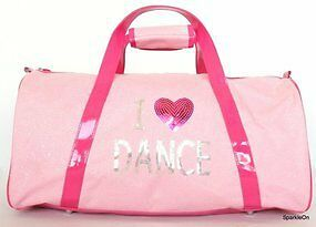 Girls Dance Bag I Heart Love Dance Girls Carry All Bag in Pink and Hot Pink