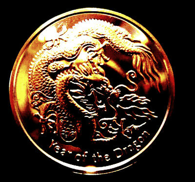 Year Of The Dragon 1 oz copper rounds  .999 bullion